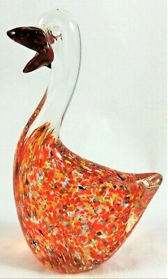 Glass Art Figurine Bird Blown Studio Handcrafted Hand Art Work Vintage Animal