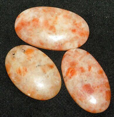 Sunstone Oval Natural Cabochon Loose Gemstone Lot 161Cts. 3Pcs 42092