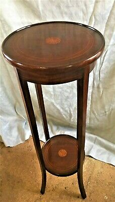 Edwardian Inlaid Mahogany Two Tier Plant Stand Jardiniere Torchere