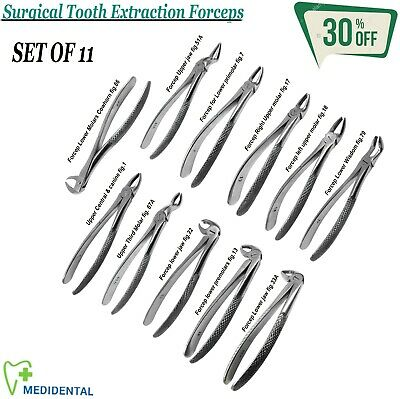 SURGICAL Dental Adult Tooth Extracting Kit Upper & Lower Molars Root Forceps New