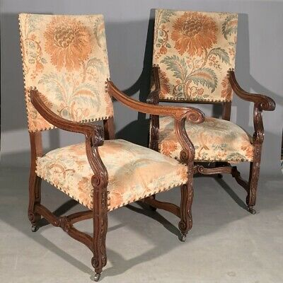 Pair of French antique throne armchairs