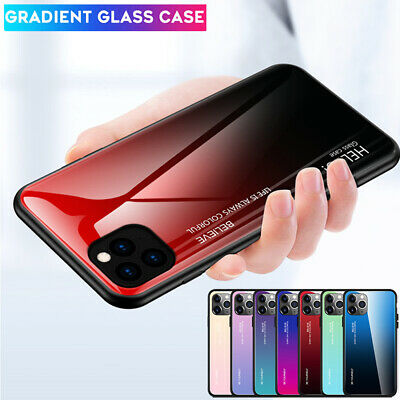 Glossy Slim Gradient Glass Case for iPhone 11Pro Max XR X XS Hybrid Bumper Cover