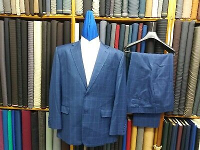 Blue with white box check Suit glen plaid Custom made to measure Bespoke Suits