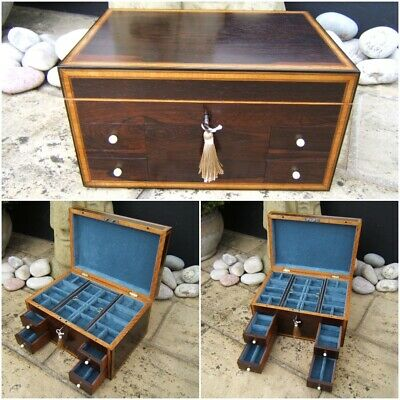 Terrific Georgian 19C Rosewood Antique Jewellery/Vanity Box - Fab Interior