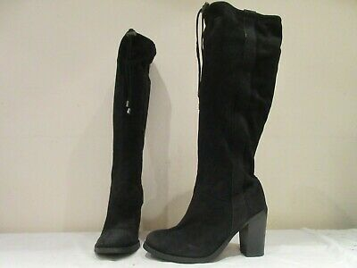 Next Black Leather Long Stacked Heel Pull On Boots Uk 6.5 Eu 40 (3354)