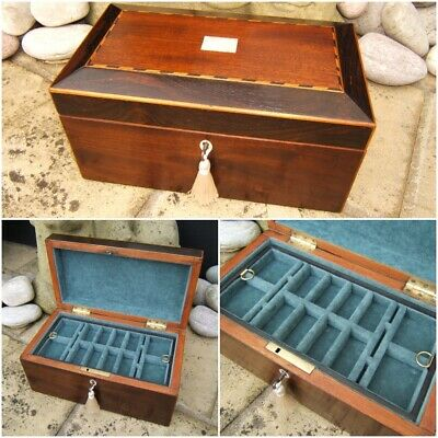 Wonderful 19C Victorian Rosewood Inlaid Antique Jewellery Box - Fab Interior