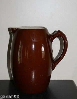 "EUC Antique Primitive Stoneware Water Pitcher-Brown Glaze-8 1/2"" Tall-Crock"