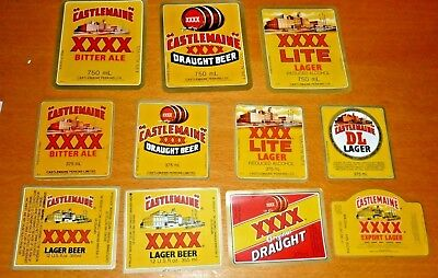 Collectable beer labels: Set of 11 XXXX Castlemaine beer labels MINT