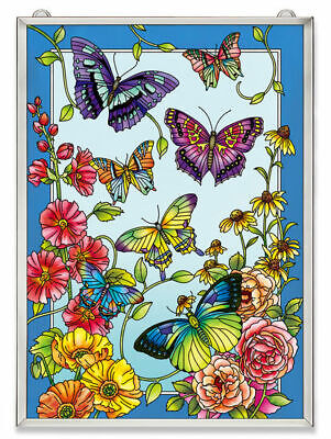 """Amia Stained Glass 11"""" X 15.5"""" Window Panel Garden Fashion Show Butterfly 42613"""