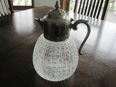 Mid Century Italy Pressed Diamond Cut Pitcher Silver Plated top w/ cooling tube