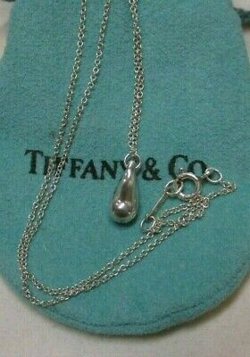 Sterling Silver Tiffany & Co.. Elsa Peretti Teardrop Pendant Necklace 16""