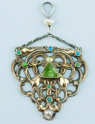 1890 Arts & Crafts Pendant Silver Gold Emerald Pearl Turquoise Antique Victorian