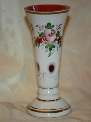 Czech Bohemian Cranberry Cased to White Glass VASE LOT 4371