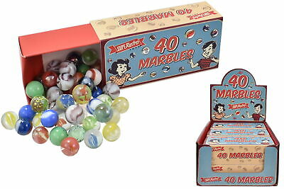 40 Retro Style Glass Marbles | Vintage Marble Box