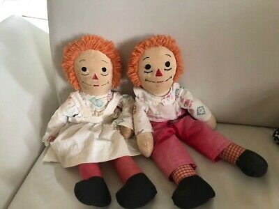 Vintage Raggedy Ann and Andy dolls OLD