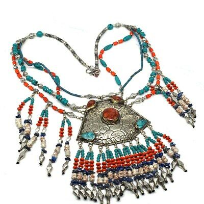 Adorable Look Turquoise Coral Lapis Gemstone Jewelry Tibetan Necklace 18'' or729