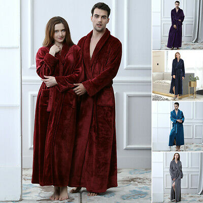 Unisexe Robe Homme Peignoir Manches Longues Maxi Pyjama Solide Nightgown