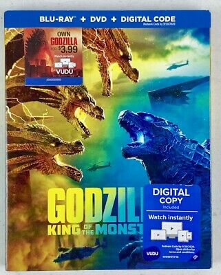 Godzilla: King of the Monster (Blu-Ray/DVD, Aug 2019, 2 Discs)