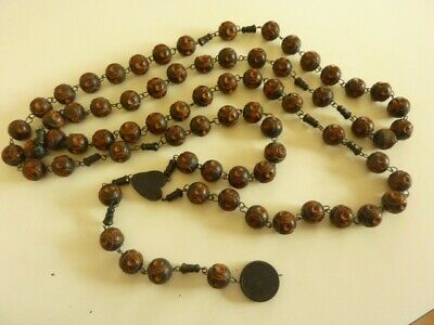 HUGE Antique French Wall Rosary from LOURDES. Approx 72 Hand Carved Wooden Beads