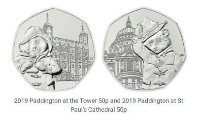 2019 PADDINGTON BEAR SET - ST PAULS & TOWER  50p  Unc from sealed bags