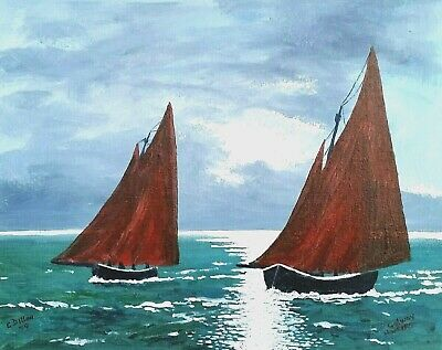 Original painting,Irish Art, Galway Hooker,by Gerry Dillon,Dingle,Co KERRY.