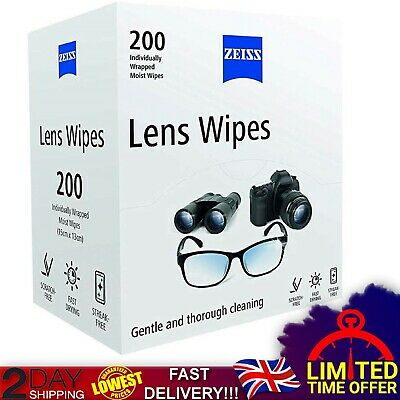 ZEISS Optical Lens Cleaning Wipes for Glasses Pack of 200 Camera Screens New