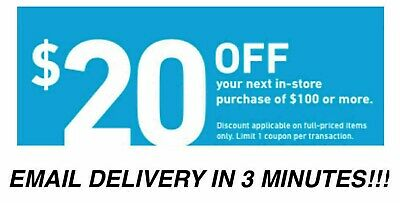 1 x $20 OFF $100 LOWES 1Coupon IN STORE USE ONLY - Lowe's -Insta E-delivery