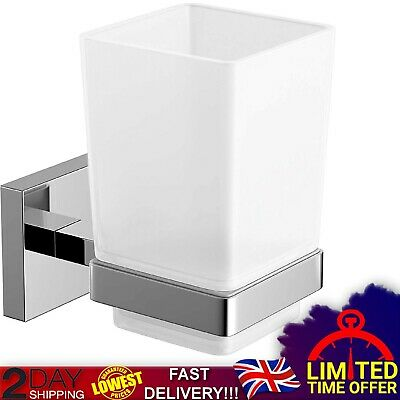 Modern Chrome Toothbrush Holder Wall Mount Tumbler Square Bathroom Accessory New