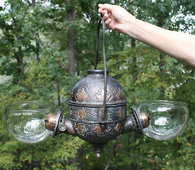 """Antique Copper """"ANGLE MFG Co NY"""" 2-burner embossed hanging lamp w/elbows & wicks"""