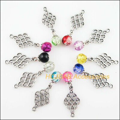 10 New Chinese knot Charms Tibetan Silver Tone Mixed Glass Pendants