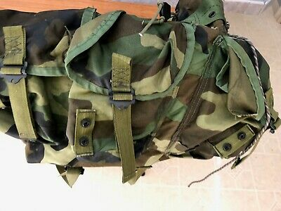 US Military Woodland Camo Alice Field Pack Backpack Medium w/ OD Straps EXC