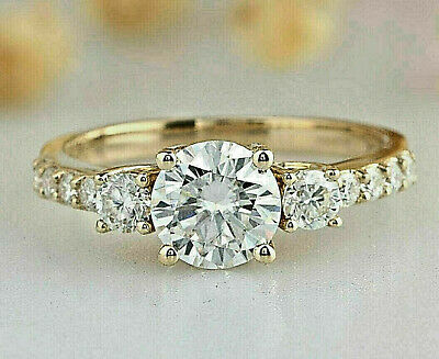 3.05 ct Round cut Three Stone Engagement Ring Solid 14K Yellow gold