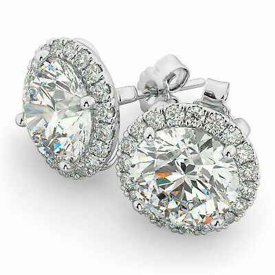 3.63ct Round Halo Diamond Stud Earrings Solid 14k White Gold Heavy Screw Back