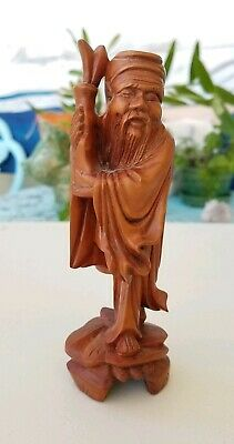 Vintage Hand Carved Asian Chinese Rosewood Carving  Standing Smiling man