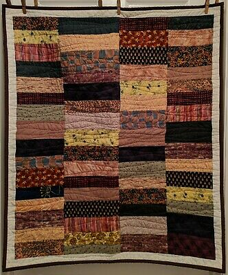 Handmade Baby Quilt Coin Quilt Unisex Multi Color Reds Browns Greens 32x38