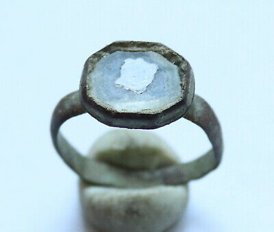 Ancient Viking Old Bronze FABULOUS STATUS Ring With Stone VERY RARE