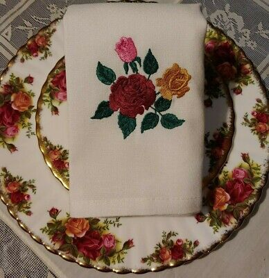 Compliments -Old Country Roses- Royal Albert China-Emb. Napkins Set of 4