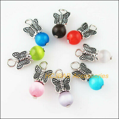 8 Animal Butterfly Charms Tibetan Silver Mixed Cat Eye Stone Pendants 10.5x22mm