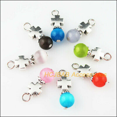 8 New Smooth Cross Charms Tibetan Silver Tone Mixed Cat Eye Stone Pendant 8x22mm