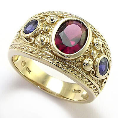 Byzantine Styled Ring 10k Solid Yellow Gold with Iolite and Garnet #R1506