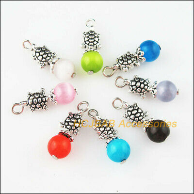 8 New Animal Tortoise Charms Tibetan Silver Mixed Cat Eye Stone Pendants 8x23mm