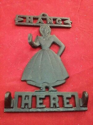 "Vintage cast iron IRON ART ""HANG HERE"" Maiden Wall Mount Keys Hook"