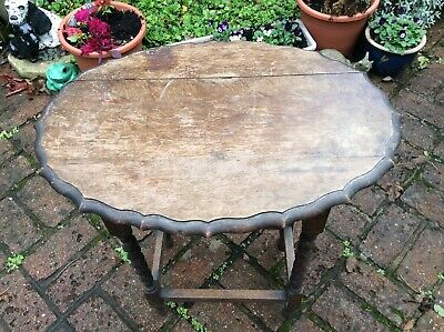 Antique Oak Pie Crust Occasional Table With Barley Twist Legs