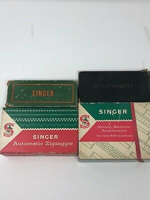 VINTAGE LOT 1950's SINGER AUTOMATIC ZIGZAGGER & SEWING MACHINE ATTACHMENTS BOXED