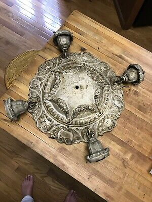 Antique Art Deco Nouveau Ceiling Light Flush Mount Heavy Cast Iron Original