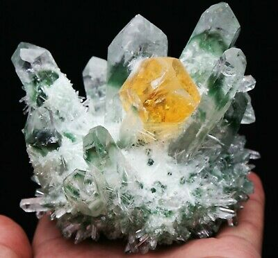 New Find Green/Yellow  Phantom Quartz Crystal Cluster Mineral Specimen Healing