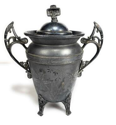 """Antique Ornate Quadruple Silver Plated Footed Covered Jar 8.5"""""""
