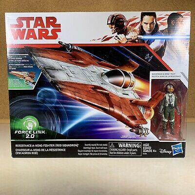 Star Wars Force Link 2.0 Resistance A-Wing Fighter Red Squadron and Pilot 3.75""