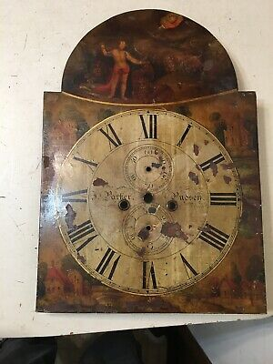 Antique 1800's Biblical Scene Painted Grandfather Clock Dial Daniel In Lions Den
