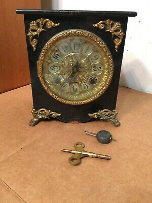 Rare Small Size New Haven Iron Case Mantle Clock With Ornate Dial